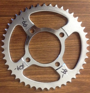 Rear sprocket suit 2000 on - 45 tooth.